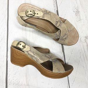 Dansko Jacinda Taupe Snake Sandals w/ Cross Straps